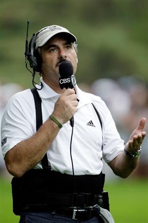 CHASKA, MN - AUGUST 15:  David Feherty of CBS Sports reports the play during the third round of the 91st PGA Championship at Hazeltine National Golf Club on August 15, 2009 in Chaska, Minnesota.  (Photo by Jamie Squire/Getty Images)