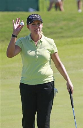 PRATTVILLE, AL - OCTOBER 3:  Christie Kerr waves after completing her third round play in the Navistar LPGA Classic at the Robert Trent Jones Golf Trail at Capitol Hill on October 3, 2009 in  Prattville, Alabama.  (Photo by Dave Martin/Getty Images)