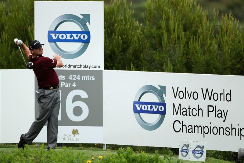 CASARES, SPAIN - MAY 20:  Paul Lawrie of Scotland tees off on the 16th hole during the group stages of the Volvo World Match Play Championships at Finca Cortesin on May 20, 2011 in Casares, Spain.  (Photo by Warren Little/Getty Images)