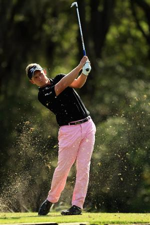HILTON HEAD ISLAND, SC - APRIL 24:  Luke Donald of England hits his tee shot on the 14th hole during the final round of The Heritage at Harbour Town Golf Links on April 24, 2011 in Hilton Head Island, South Carolina.  (Photo by Streeter Lecka/Getty Images)
