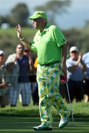 LA JOLLA, CA - JANUARY 28:   John Daly reacts to his birdie putt on the 14th hole during the second round of the Farmers Insurance Open at Torrey Pines on January 28, 2011 in La Jolla, California. (Photo by Donald Miralle/Getty Images)