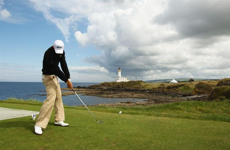 TURNBERRY, SCOTLAND - JULY 14:   Lloyd Saltman of Scotland tees off during a practice round prior to the 138th Open Championship on the Ailsa Course, Turnberry Golf Club on July 14, 2009 in Turnberry, Scotland.  (Photo by Richard Heathcote/Getty Images)