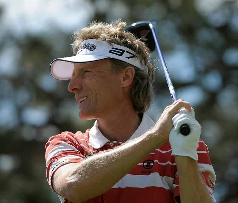 PARKER, CO. - MAY 27:   Bernhard Langer of Germany tees off the15th hole during the first round of the Senior PGA Championship at the Colorado Golf Club  on May 27, 2010 in Parker, Colorado.  (Photo by Marc Feldman/Getty Images)