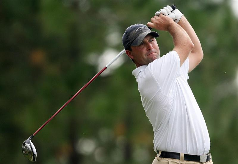 WEST PALM BEACH, FL - DECEMBER 07:  Brent Delahoussaye hits a tee shot during the final round of the 2009 PGA TOUR Qualifying Tournament at Bear Lakes Country Club on December 7, 2009 in West Palm Beach, Florida.  (Photo by Doug Benc/Getty Images)