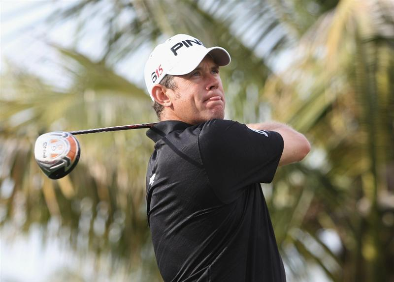 DUBAI, UNITED ARAB EMIRATES - FEBRUARY 9:  Lee Westwood of England competes during the pro-am for the 2011 Omega Dubai desert Classic held on the Majilis Course at the Emirates Golf Club on February 9, 2011 in Dubai, United Arab Emirates.  (Photo by Ian Walton/Getty Images)