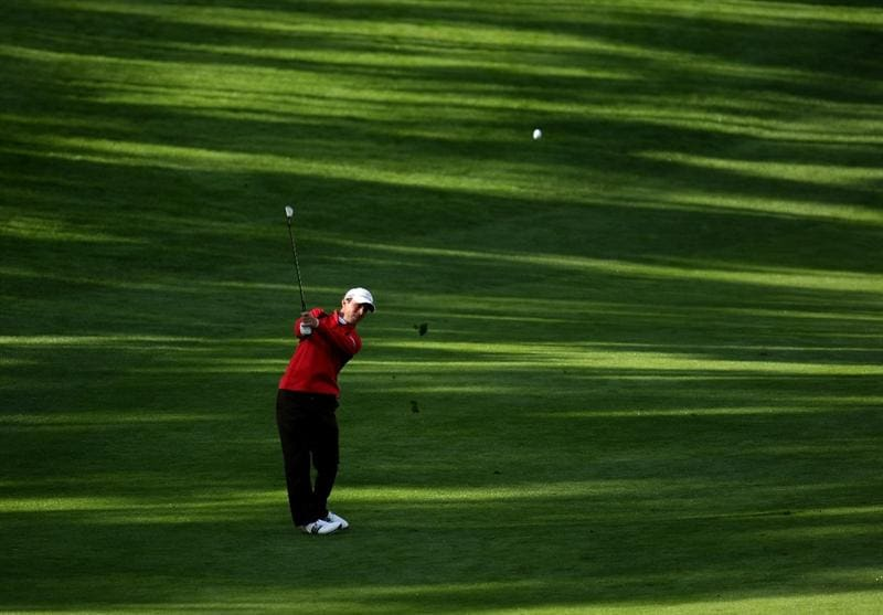 PEBBLE BEACH, CA - FEBRUARY 14:  Mike Weir of Canada hits his third shot on the 11th hole  during the third round of the the AT&T Pebble Beach National Pro-Am at Spyglass Hill Golf Course on February 14, 2009 in Pebble Beach, California.  (Photo by Stephen Dunn/Getty Images)