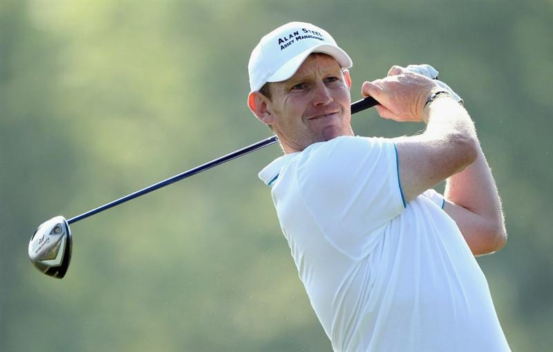 NEWPORT, WALES - JUNE 03:  Stephen Gallacher of Scotland tees off on the 16th hole during the first round of the Celtic Manor Wales Open on The Twenty Ten Course at The Celtic Manor Resort on June 3, 2010 in Newport, Wales.  (Photo by Andrew Redington/Getty Images)