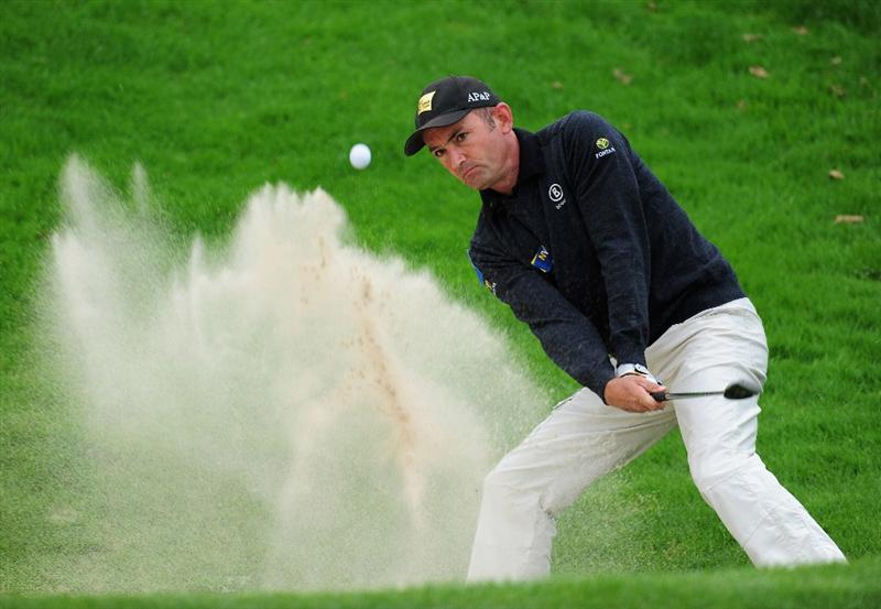 COLOGNE, GERMANY - SEPTEMBER 10:  Markus Brier of Austria plays his bunker shot on the 11th hole during the first round of The Mercedes-Benz Championship at The Gut Larchenhof Golf Club on September 10, 2009 in Cologne, Germany.  (Photo by Stuart Franklin/Getty Images)