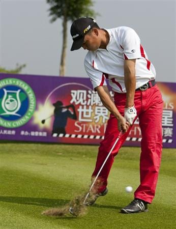 HAIKOU, CHINA - OCTOBER 30:  Golfer Yuan Hao of China in action during day four of the Mission Hills Start Trophy tournament at Mission Hills Resort on October 30, 2010 in Haikou, China. The Mission Hills Star Trophy is Asia's leading leisure liflestyle event which features Hollywood celebrities and international golf stars.  (Photo by Athit Perawongmetha/Getty Images for Mission Hills)