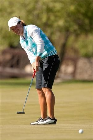 MORELIA, MEXICO - APRIL 30: Karin Sjodin of Sweden putts during the second round of the Tres Marias Championship at the Tres Marias Country Club on April 30, 2010 in Morelia, Mexico. (Photo by Darren Carroll/Getty Images)