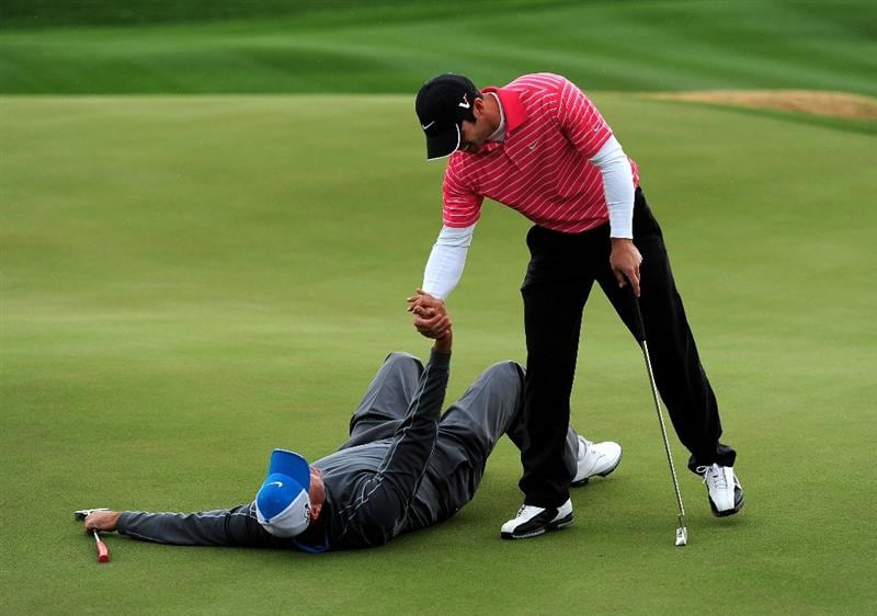 MARANA, AZ - FEBRUARY 20:  Stewart Cink lays on the ground in submission after losing his match against Paul Casey of England during round four of the Accenture Match Play Championship at the Ritz-Carlton Golf Club on February 20, 2010 in Marana, Arizona.  (Photo by Stuart Franklin/Getty Images)