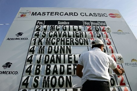 HUIXQUILUCAN, MEXICO - MARCH 09:  A course worker adjusts a scoreboard on the fourth hole during the first round of the MasterCard Classic at Bosque Real Country Club on March 9, 2007 in Huixquilucan, Mexico.  (Photo by Scott Halleran/Getty Images)