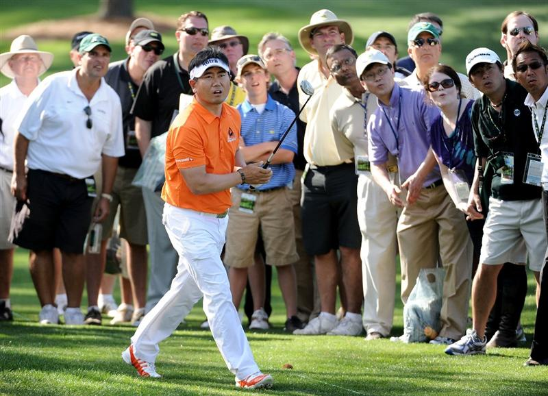 AUGUSTA, GA - APRIL 07:  Y.E. Yang of South Korea watches his shot from the rough on the 17th hole during the first round of the 2011 Masters Tournament at Augusta National Golf Club on April 7, 2011 in Augusta, Georgia.  (Photo by Harry How/Getty Images)