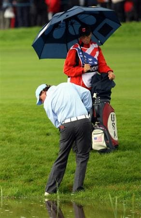 NEWPORT, WALES - OCTOBER 03:  Phil Mickelson of the USA waits to play a shot on the 14th hole during the Fourball & Foursome Matches during the 2010 Ryder Cup at the Celtic Manor Resort on October 3, 2010 in Newport, Wales.  (Photo by Ross Kinnaird/Getty Images)