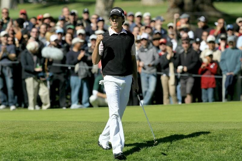 PACIFIC PALISADES, CA - FEBRUARY 20:  Aaron Baddeley of Australia celebrates after putting in from the fringe for a birdie on the seventh hole during the final round of the Northern Trust Open at Riviera Country Club on February 20, 2011 in Pacific Palisades, California.  (Photo by Stephen Dunn/Getty Images)