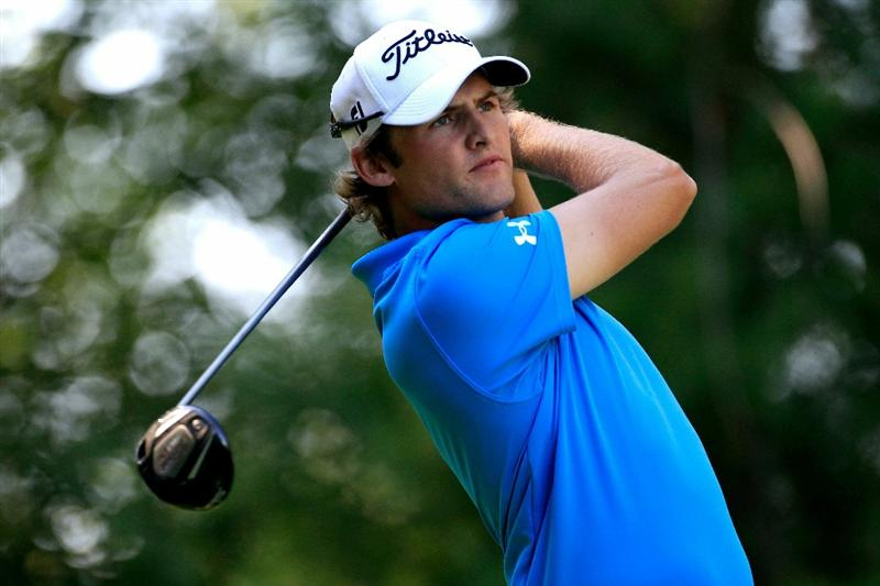 NORTON, MA - SEPTEMBER 04:  Michael Sim of Australia hits a shot on the ninth tee during the second round of the Deutsche Bank Championship at TPC Boston on September 4, 2010 in Norton, Massachusetts.  (Photo by Michael Cohen/Getty Images)