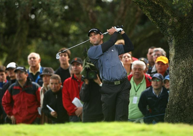 SOTOGRANDE, SPAIN - NOVEMBER 02:  Sergio Garcia of Spain plays from the trees on the 16th hole during the third round of the Volvo Masters at Valderrama Golf Club on November 2, 2008 in Sotogrande, Spain.  (Photo by Andrew Redington/Getty Images)