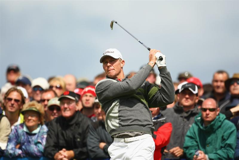 TURNBERRY, SCOTLAND - JULY 19:  James Kingston of South Africa tees off on the 1st hole during the final round of the 138th Open Championship on the Ailsa Course, Turnberry Golf Club on July 19, 2009 in Turnberry, Scotland.  (Photo by Richard Heathcote/Getty Images)