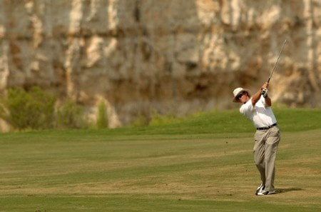 Jim Carter hits from the seventh fairway during the first round of the 2005 Valero Texas Open at La Cantera in at La Cantera Country Club in San Antonio, Texas September 22, 2005.Photo by Steve Grayson/WireImage.com