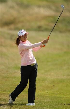LYTHAM ST ANNES, UNITED KINGDOM - AUGUST 02:  Mika Miyazato of Japan hits her second shot on the 4th hole during the final round of the 2009 Ricoh Women's British Open Championship held at Royal Lytham St Annes Golf Club, on August 2, 2009 in Lytham St Annes, England. (Photo by Warren Little/Getty Images)