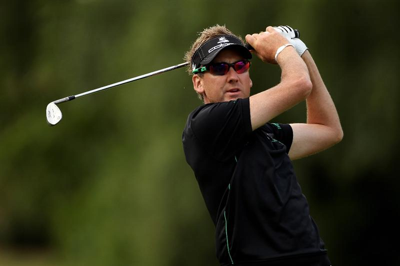 VIRGINIA WATER, ENGLAND - MAY 25:  Ian Poulter of England plays an approach shot during the Pro-Am round prior to the BMW PGA Championship at Wentworth Club on May 25, 2011 in Virginia Water, England.  (Photo by Andrew Redington/Getty Images)