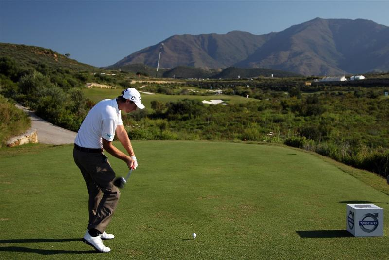 CASARES, SPAIN - MAY 21:  Nicolas Colsaerts of Belgium hits his tee-shot on the fifth hole during his last 16 match at the Volvo World Match Play Championship at Finca Cortesin on May 21, 2011 in Casares, Spain.  (Photo by Andrew Redington/Getty Images)