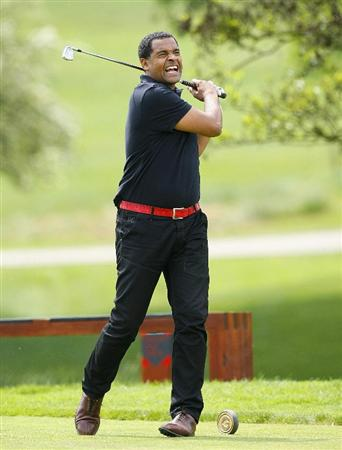 WATFORD, ENGLAND - MAY 26: Mark Bright tees off on the 4th hole during the Andrew Cole Golf Day, raising vital funds for youth charity The Prince's Trust at The Grove golf Club on May 26, 2010 in Watford, England. (Photo by Tom Dulat/Getty Images)