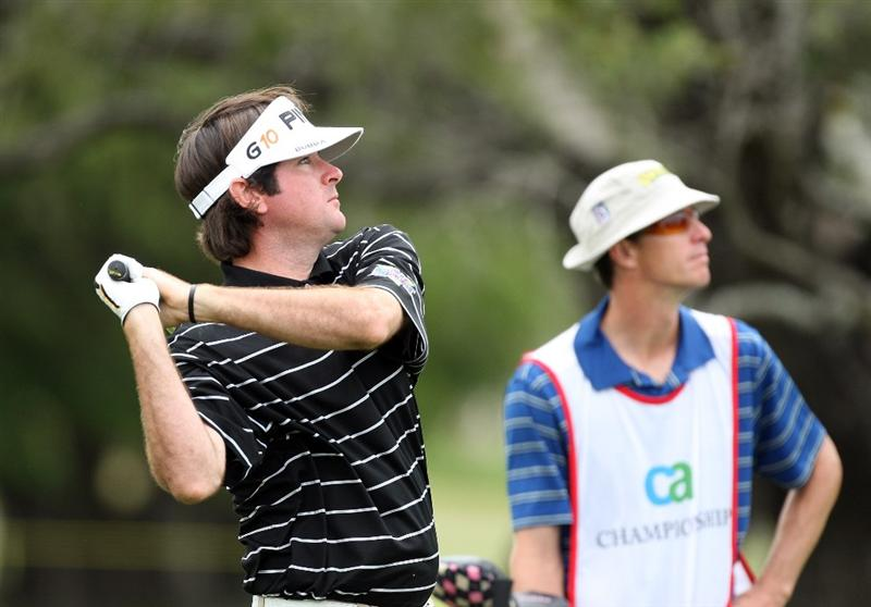 DORAL, FL - MARCH 13:  Bubba Watson of the USA plays his second shot at the 1st hole during the second round of the World Golf Championships-CA Championship at the Doral Golf Resort & Spa on March 13, 2009 in Miami, Florida  (Photo by David Cannon/Getty Images)