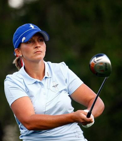 SUGAR GROVE, IL - AUGUST 21:  Angela Stanford of the U.S. Team watches her tee shot on the second hole during the friday morning fourball matches at the 2009 Solheim Cup at Rich Harvest Farms on August 21, 2009 in Sugar Grove, Illinois.  (Photo by Scott Halleran/Getty Images)