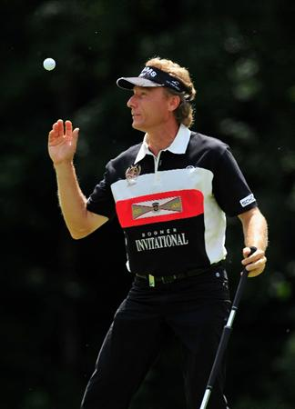 MUNICH, GERMANY - JUNE 26:  Bernhard Langer of Germany catches his ball on the fifth hole during the second round of The BMW International Open Golf at The Munich North Eichenried Golf Club on June 26, 2009, in Munich, Germany.  (Photo by Stuart Franklin/Getty Images)