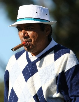 PEBBLE BEACH, CA - FEBRUARY 9:  Actor George Lopez looks on during the third round of the AT&T Pebble Beach National Pro-Am at Pebble Beach Golf Links February 9, 2008 in Pebble Beach, California.  (Photo by Jed Jacobsohn/Getty Images)