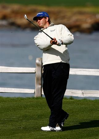 PEBBLE BEACH, CA - FEBRUARY 13:  Retief Goosen of South Africa hits a tee shot on the seventh hole during the second round of the AT&T Pebble Beach National Pro-Am at the Pebble Beach Golf Links on February 13, 2009 in Pebble Beach, California.  (Photo by Jeff Gross/Getty Images)