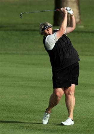 DUBAI, UNITED ARAB EMIRATES - DECEMBER 07:  Laura Davies of England during the pro-am as a preview for the 2010 Dubai Ladies Masters on the Majilis Course at The Emirates Golf Club on December 7, 2010 in Dubai, United Arab Emirates.  (Photo by David Cannon/Getty Images)