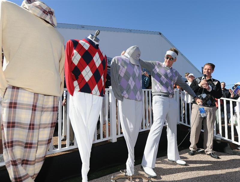 MARANA, AZ - FEBRUARY 22:  Ian Poulter of England at the announcement of the winning oufit that he will wear during the first round prior to the start of the World Golf Championships-Accenture Match Play Championship held at The Ritz-Carlton Golf Club, Dove Mountain on February 22, 2011 in Marana, Arizona.  (Photo by Stuart Franklin/Getty Images)
