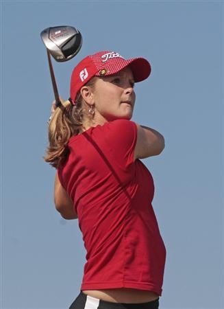 PRATTVILLE, AL - SEPTEMBER 26:  Anna Grzebien watches her drive from the 3rd tee during second round play in the Navistar LPGA Classic at the Robert Trent Jones Golf Trail at Capitol Hill on September 26, 2008 in Prattville, Alabama.  (Photo by Dave Martin/Getty Images)