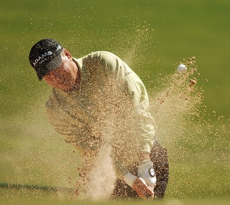 D.A. Weibring hits out of a bunker on the 13th green during the second round of the FedEx Kinko's Classic at the Hills Country Club in Austin, Texas April 30, 2005.Photo by Steve Grayson/WireImage.com