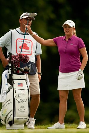 SPRINGFIELD, IL - JUNE 13: Cristie Kerr pulls a club from her golf bag during continuation of  the third round of the LPGA State Farm Classic at Panther Creek Country Club on June 13, 2010 in Springfield, Illinois. (Photo by Darren Carroll/Getty Images)