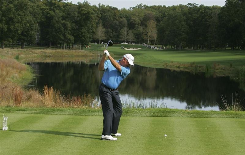 POTOMAC, MD - OCTOBER 09: Mark O'Meara hits his drive on the fourth hole during the third round of the Constellation Energy Senior Players Championship held at TPC Potomac at Avenel Farm on October 9, 2010 in Potomac, Maryland.  (Photo by Michael Cohen/Getty Images)