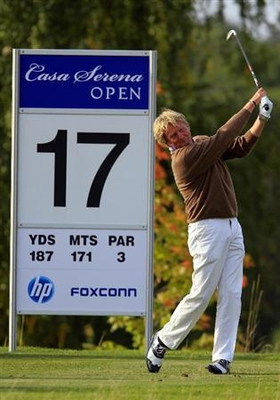 KUTNA HORA, CZECH REPUBLIC - SEPTEMBER 18:  Peter Dahlberg of Sweden hits from the fairway on the 17th hole during the second round of the Casa Serena Open played at Casa Serena Golf on September 18, 2010 in Kutna Hora, Czech Republic.  (Photo by Phil Inglis/Getty Images)