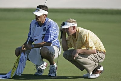 Vaughn Taylor lines up a putt on the 18th hole during the 3rd round of the Verizon Heritage Classic being played at the Harbour Town Golf Links in Hilton Head, South Carolina on April 15, 2006.Photo by Mike Ehrmann/WireImage.com