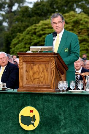AUGUSTA, GA - APRIL 12:  William Porter Payne, Chairman of the Augusta National Golf Club and the Masters Tournament, speaks during the green jacket presentation after Angel Cabrera defeated Kenny Perry on the second sudden death playoff hole to win the 2009 Masters Tournament at Augusta National Golf Club on April 12, 2009 in Augusta, Georgia.  (Photo by David Cannon/Getty Images)