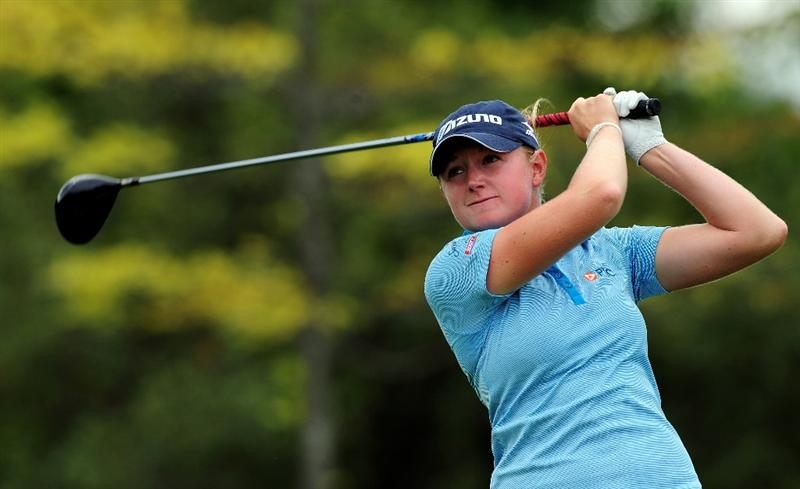 EVIAN-LES-BAINS, FRANCE - JULY 24:  Stacy Lewis of USA plays her tee shot on the 15th hole during the second round of the Evian Masters at the Evian Masters Golf Club on July 24, 2009 in Evian-les-Bains, France.  (Photo by Stuart Franklin/Getty Images)