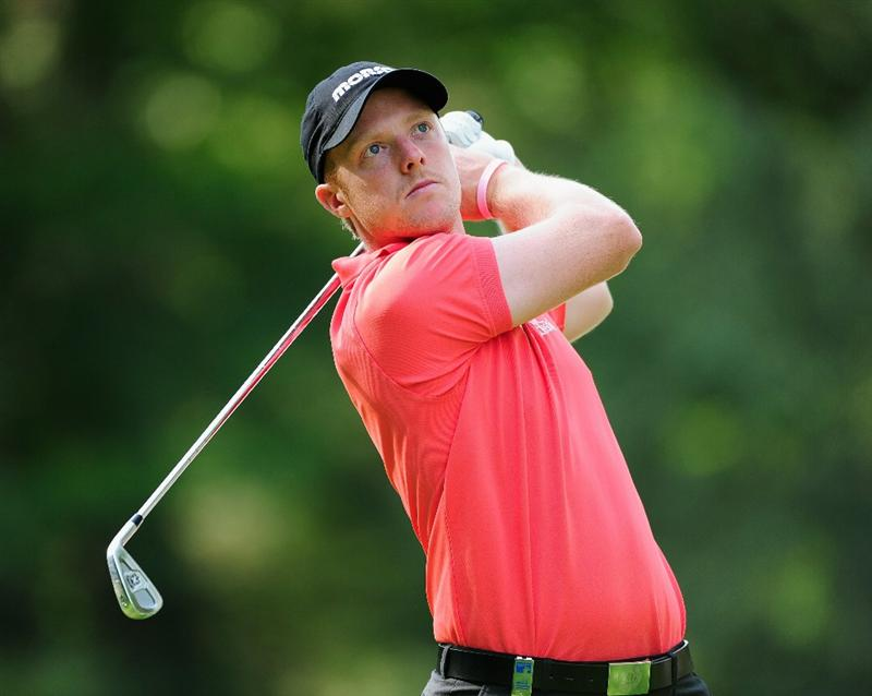 HILVERSUM, NETHERLANDS - SEPTEMBER 11:  David Horsey of Engalnd plays his tee shot on the second hole during the third round of  The KLM Open Golf at The Hillversumsche Golf Club on September 11, 2010 in Hilversum, Netherlands.  (Photo by Stuart Franklin/Getty Images)