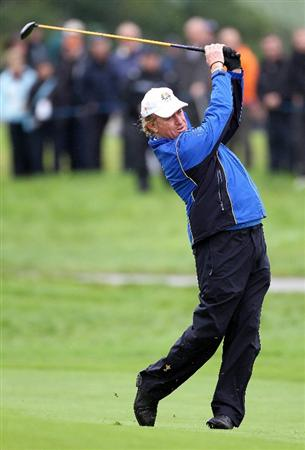 NEWPORT, WALES - SEPTEMBER 29:  Miguel Angel Jimenez of Europe hits a shot during a practice round prior to the 2010 Ryder Cup at the Celtic Manor Resort on September 29, 2010 in Newport, Wales.  (Photo by Andy Lyons/Getty Images)