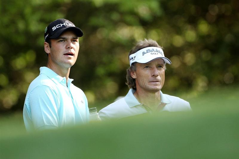 AUGUSTA, GA - APRIL 06:  Martin Kaymer (L)  and Bernhard Langer of Germany wait on a tee box during a practice round prior to the 2010 Masters Tournament at Augusta National Golf Club on April 6, 2010 in Augusta, Georgia.  (Photo by Andrew Redington/Getty Images)
