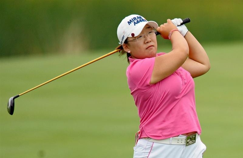 HAVRE DE GRACE, MD - JUNE 11: Jiyai Shin of South Korea hits her second shot on the 18th hole during the first round of the McDonald's LPGA Championship at Bulle Rock Golf Course on June 11, 2009 in Havre de Grace, Maryland. (Photo by Drew Hallowell/Getty Images)