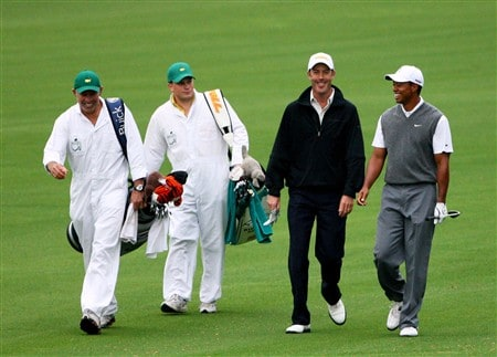 AUGUSTA, GA - APRIL 07:  Richard Green of Australia and Tiger Woods walk along a fairway during the first day of practice prior to the start of the 2008 Masters Tournament at Augusta National Golf Club on April 7, 2008 in Augusta, Georgia.  (Photo by Andrew Redington/Getty Images)