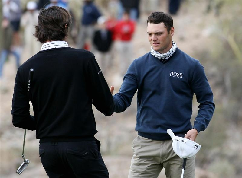 MARANA, AZ - FEBRUARY 26:  Bubba Watson (L) congratulates Martin Kaymer of Germany (R) on his win on the 18th hole during the semifinal round of the Accenture Match Play Championship at the Ritz-Carlton Golf Club on February 26, 2011 in Marana, Arizona.  (Photo by Sam Greenwood/Getty Images)