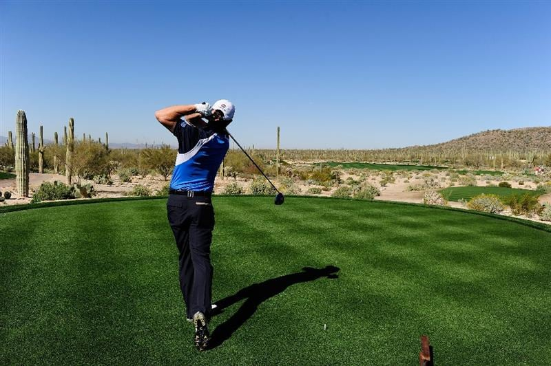 MARANA, AZ - FEBRUARY 16:  Padraig Harrington of Ireland tees off during the second practice round prior to the start of the Accenture Match Play Championship at the Ritz-Carlton Golf Club on February 16, 2010 in Marana, Arizona.  (Photo by Stuart Franklin/Getty Images)
