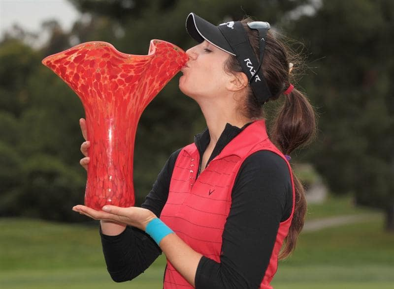 CITY OF INDUSTRY, CA - MARCH 27:  Sandra Gal of Germany poses kisses the trophy after winning the Kia Classic on March 27, 2011 at the Industry Hills Golf Club in the City of Industry, California.  (Photo by Scott Halleran/Getty Images)